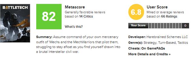 نمرات بازی BattleTech منتشر شد