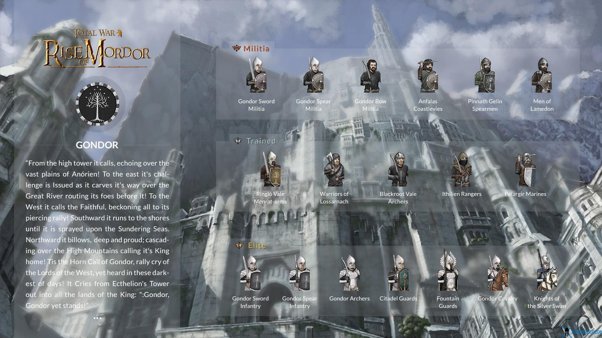 Gondor unit cards