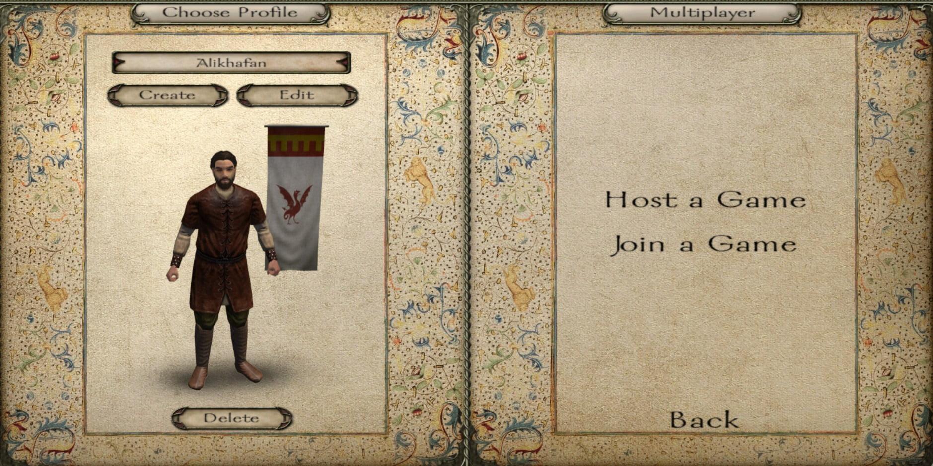 تصویری از صفحه درست کردن کارکتر و ورود به سرورهای بازی از طریق Join a Game