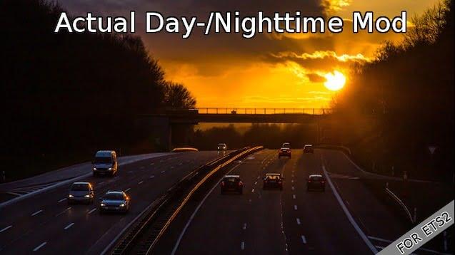 دانلود مد Actual Day/Nighttime برای بازی Euro Truck Simulator 2