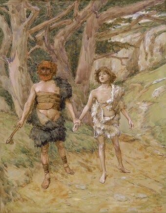 قابیلهابیل را به مرگ میکشاند (توسط ژاک تیسوت، قرن هجدهم)