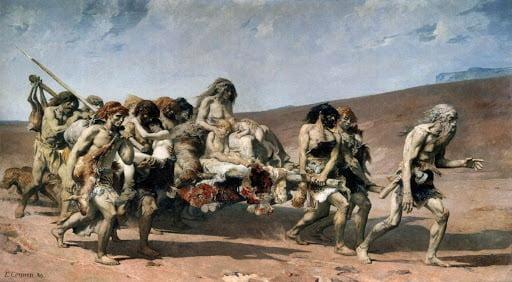 قابیل (Kane) سرگردان روی زمین (توسط فرناند کورمون، قرن نوزدهم)